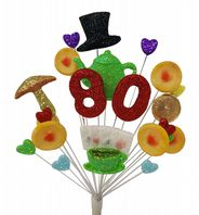 Tea party 80th birthday cake topper decoration - free postage